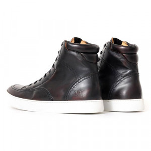 Chaussures Rokker City Sneaker brown de moto en cuir