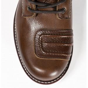 Chaussures de moto John Doe Iron Brown vintage en cuir