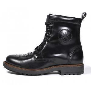 Chaussures John Doe Falcon black de moto en cuir