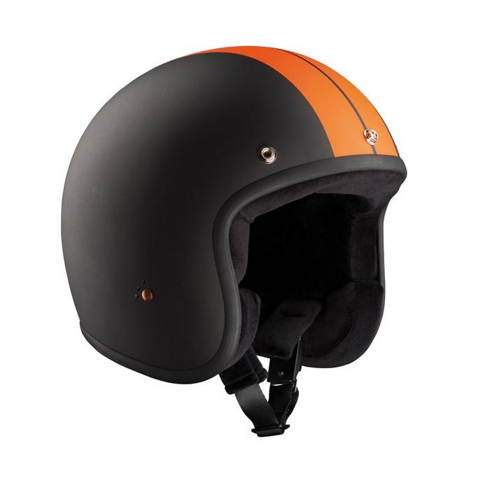 Casque Bandit Racer jet moto vintage orange et noir mat