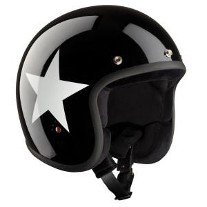 Casque moto jet vintage Bandit Racer Star noir