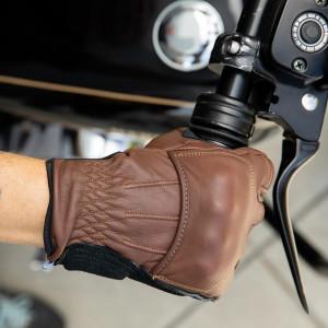 Gants Biltwell Belden marron moto en cuir vintage