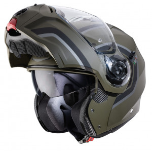 Casque Caberg Droid Pure vert militaire modulable moto