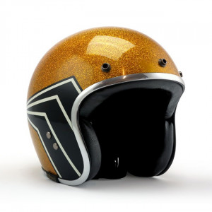 Casque Roeg X 13 1/2 Skull Bucket gold flake scooter moto 1