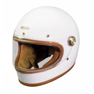 Casque Hedon Heroine RACER KNIGHT WHITE - Integral moto vintage