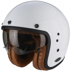 Casque Scorpion Belfast Luxe blanc vintage cafe racer