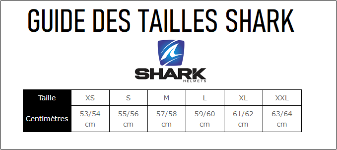 Guide tailles casque shark