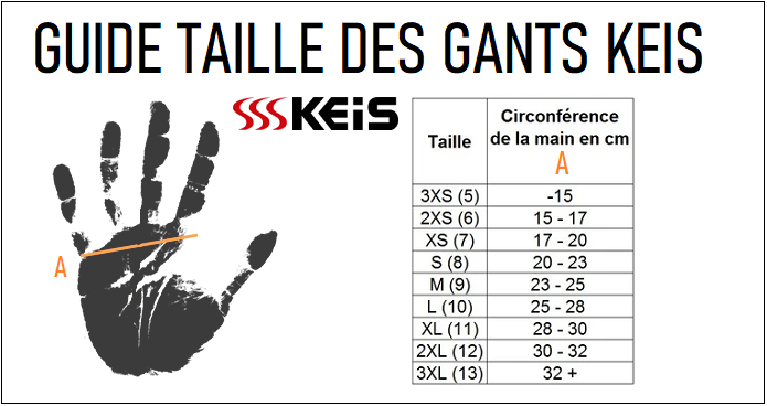 Guide taille gants chauffants Keis